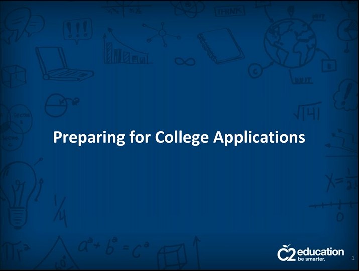 opening slide of webinar about college application prep