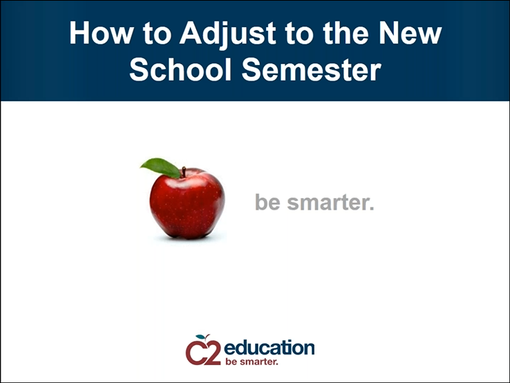 first slide for webinar about adjusting to a new school semester