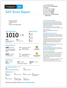 Here is an example of what an SAT score report looks like.