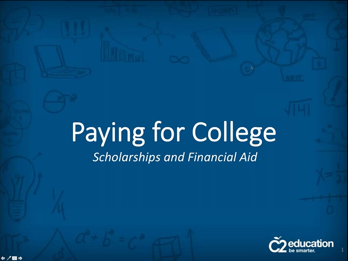 first slide of webinar about how to pay for college