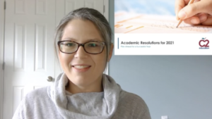 webinar slide about academic resolutions for 2021