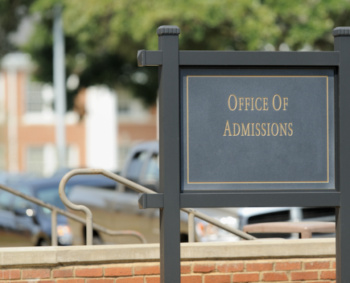 sign outside college admissions office