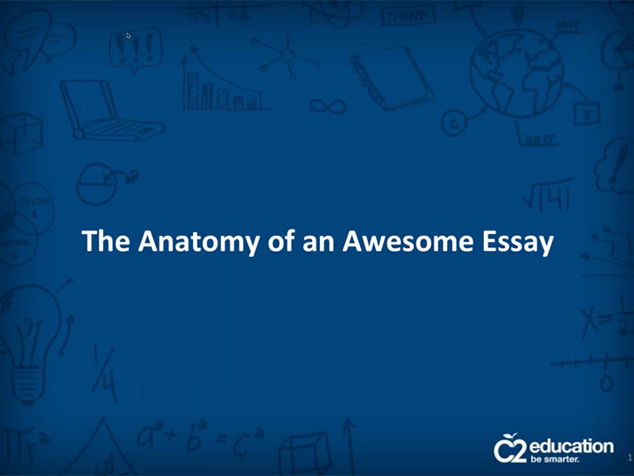 slide from webinar about writing awesome college essays
