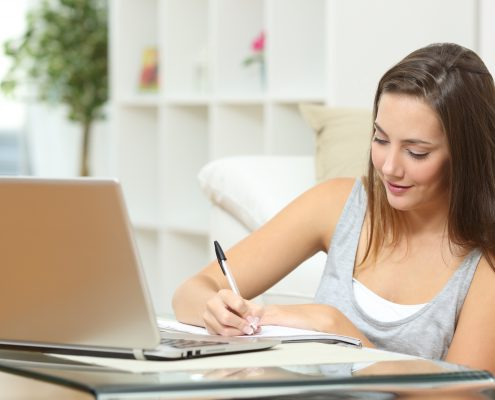 high school student working on history homework