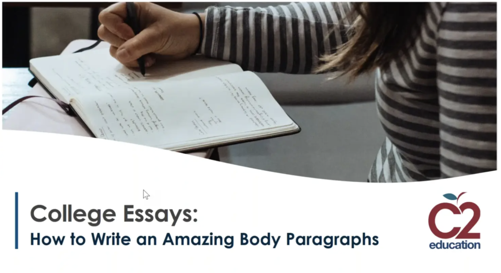 picture of webinar slide for writing amazing college essays