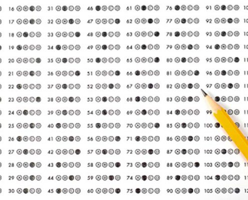pencil and test answer sheet