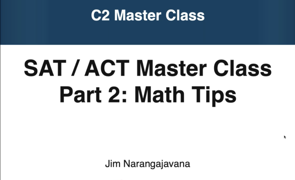 opening screen from webinar on sat and act math sections