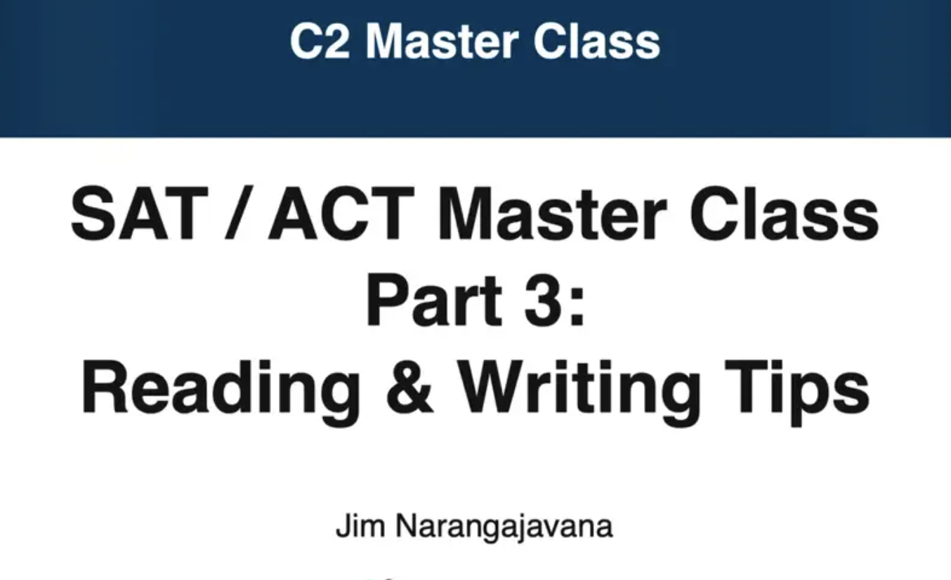 webinar slide that says sat act reading and writing