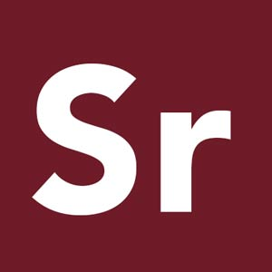 letters Sr on dark red background
