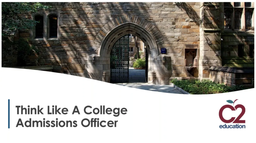 graphic for webinar called think like a college admissions officer