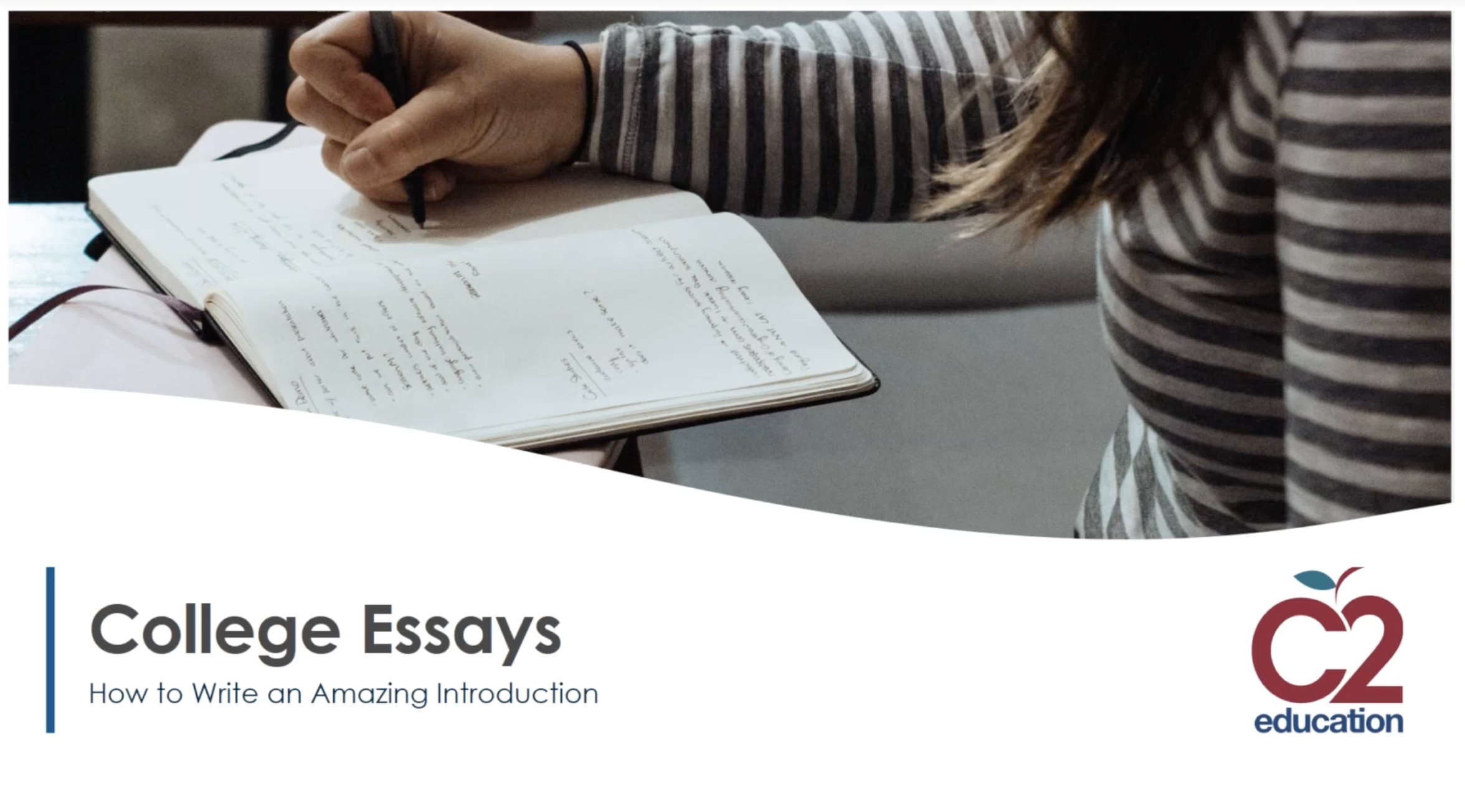graphic for webinar on how to write an amazing college essay introduction